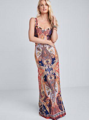 Beaded Print Maxi Dress