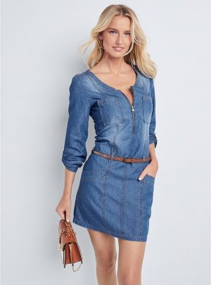 Belted Chambray Mini Dress