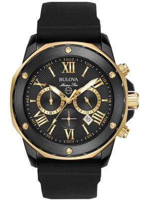 Bulova Men's Chronograph Marine Star Black Silicone Strap Watch