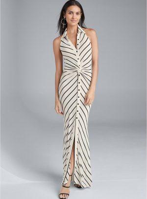 Collared Stripe Maxi Dress