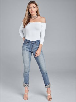 Cropped Pearl Cuff Jeans