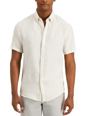 Michael Kors Men's Slim-Fit Linen Short-Sleeve Oxford Shirt